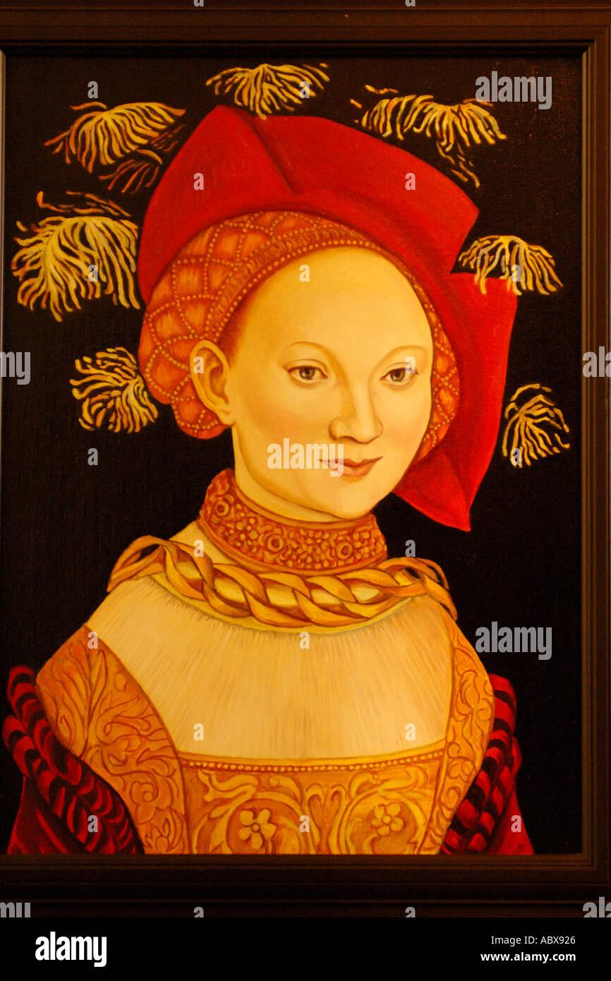 Kunst, mittelalterliche Portrait Frau Stockbild