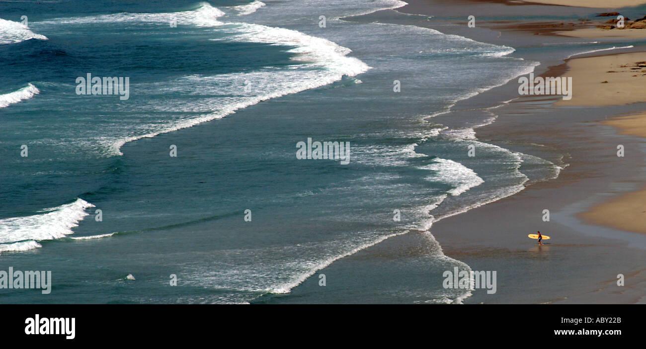 Einsamer Surfer zu Fuß ins Meer, Whitesand Bay, Sennen Cove, Cornwall UK Stockbild