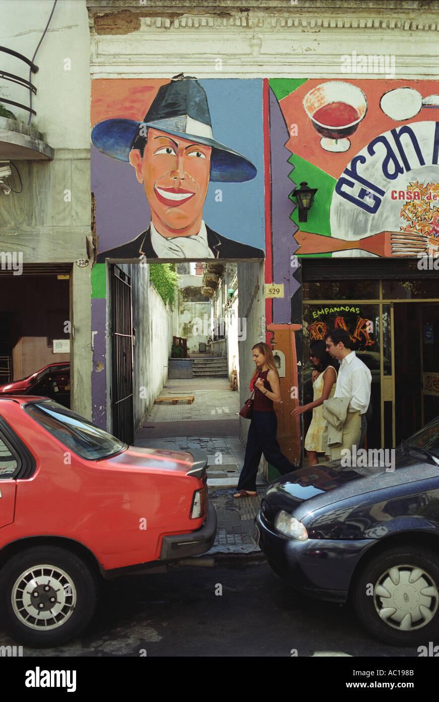 Ttango Wandbild von Carlos Gardel San Telmo Bezirk, Buenos Aires-Argentinien-Südamerika.   Wandmalerei HOMER Stockbild