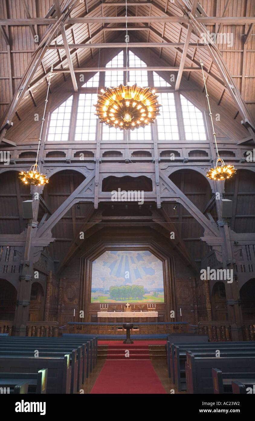 Innenansicht der Kirche von Kiruna, meist aus Holz gefertigt Stockbild