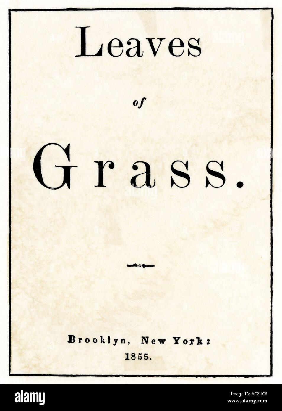 Erste Ausgabe Titel Seite Der Blätter Von Gras Gedicht Von