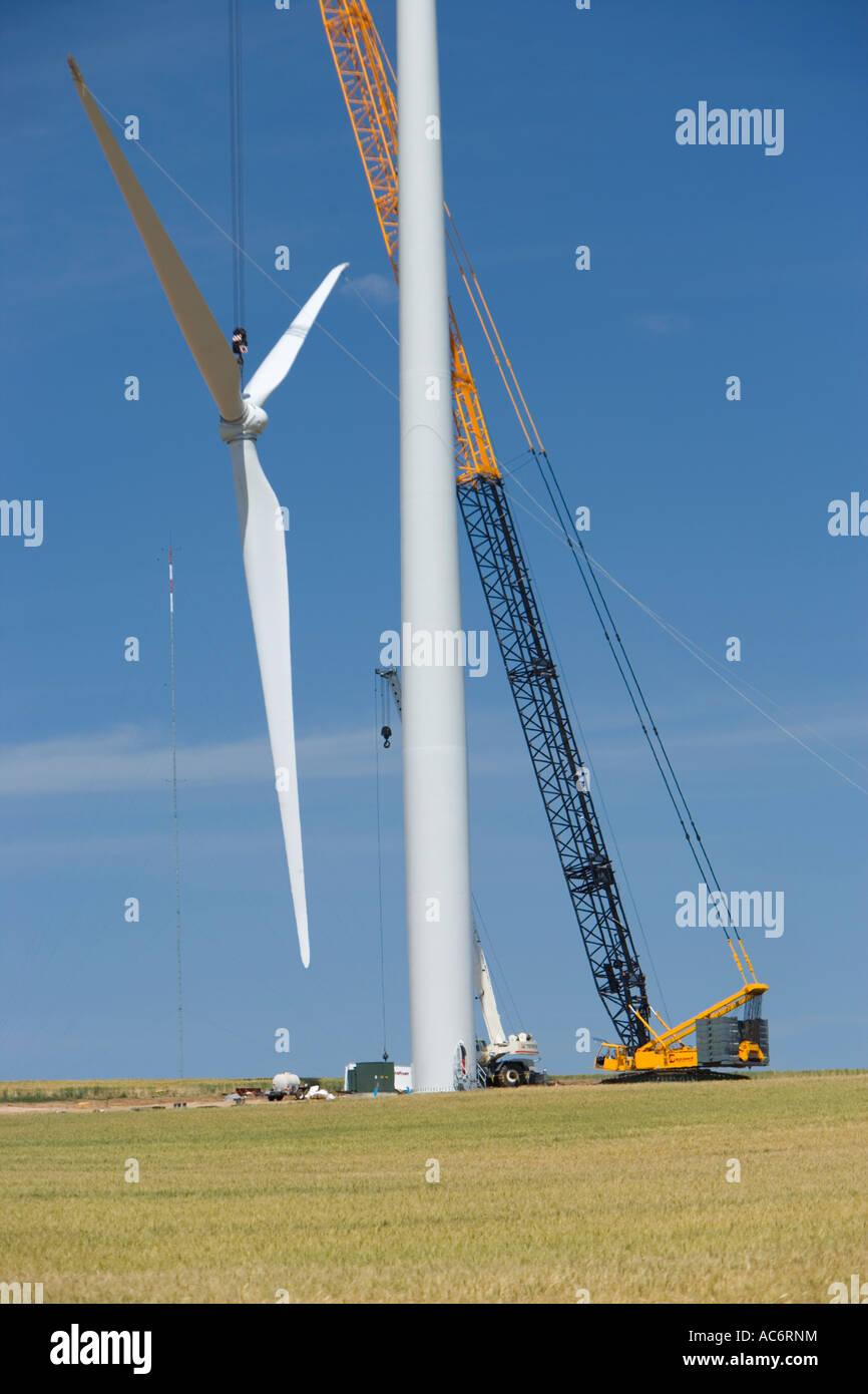Kran-Installation Propeller, Wind Turbine, Oregon Stockbild