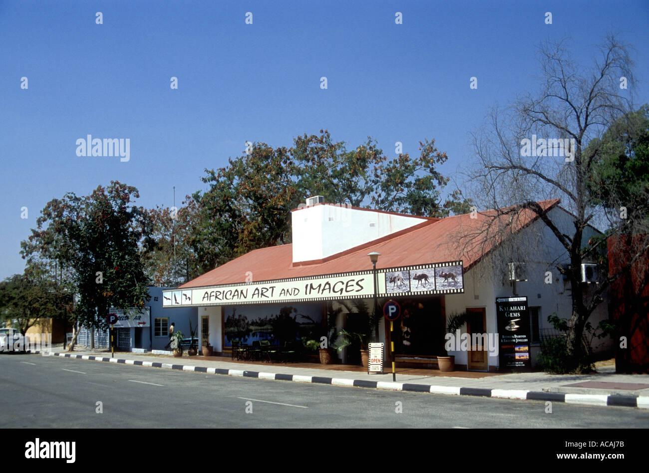 Touristischer Art Shop In Der Nahe Von Flughafen Maun Botsuana Sudliches Afrika Landkarte