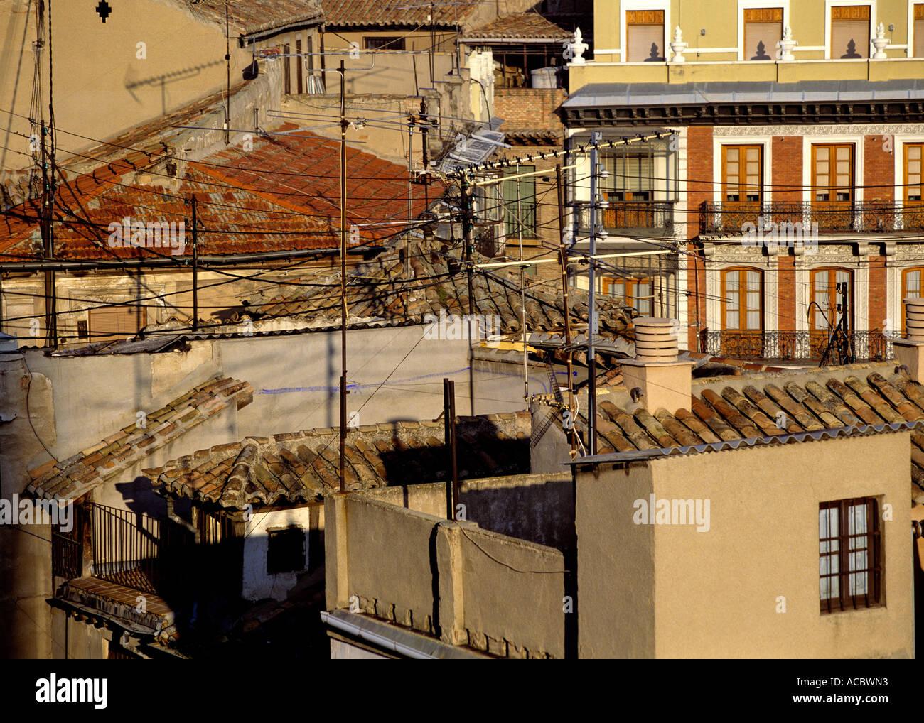 Antennen am Morgen Stadt Toledo alte Stadt Region Kastilien-La Mancha Spaniens Stockbild