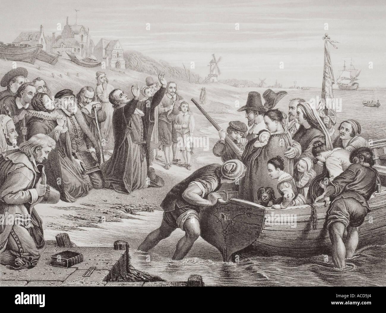 Abfahrt der Pilgerväter von Delfshaven, Juli 1620. Stockbild