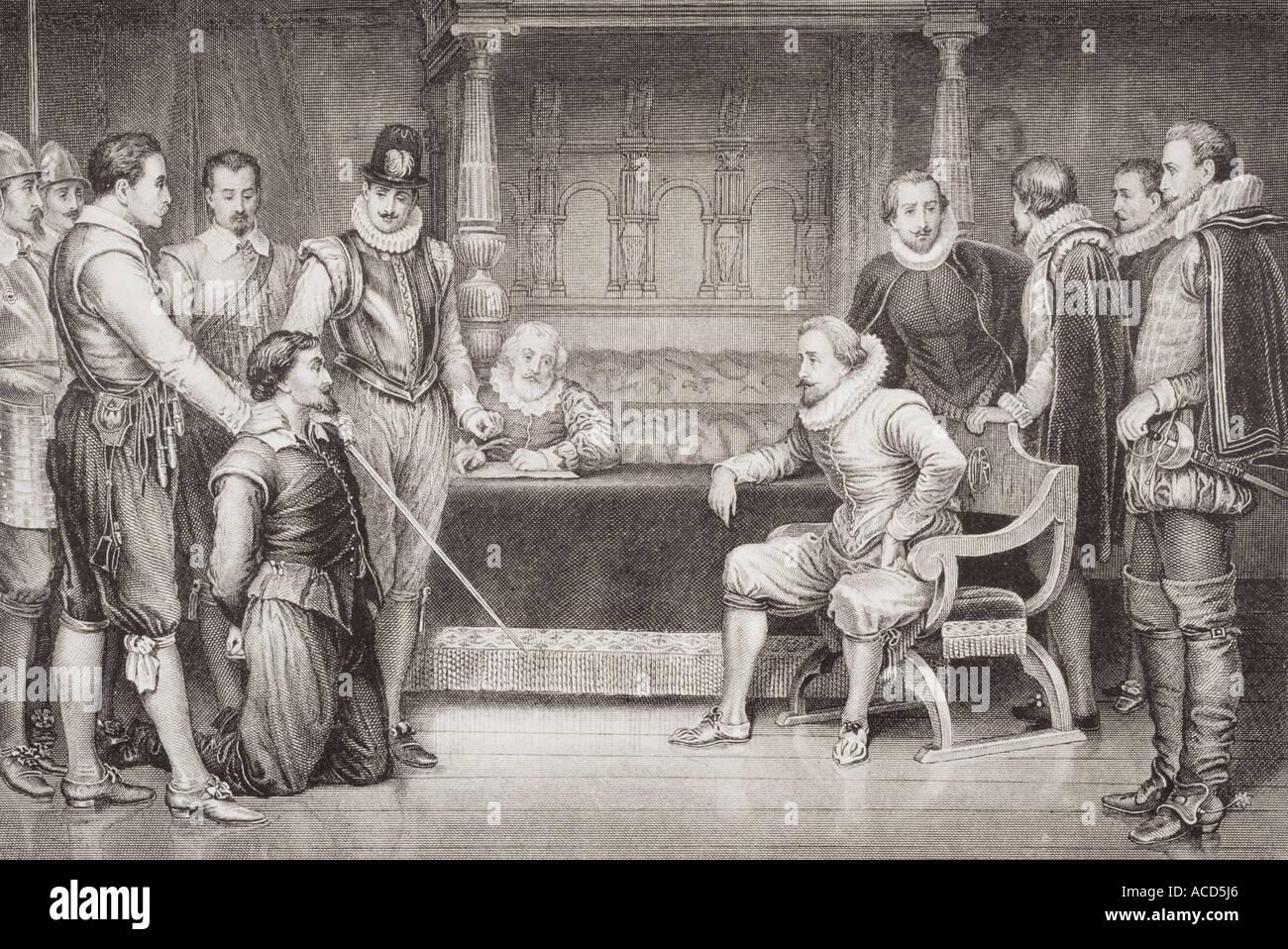 Der Gunpowder Plot. Guy Fawkes verhört von James I. Stockfoto