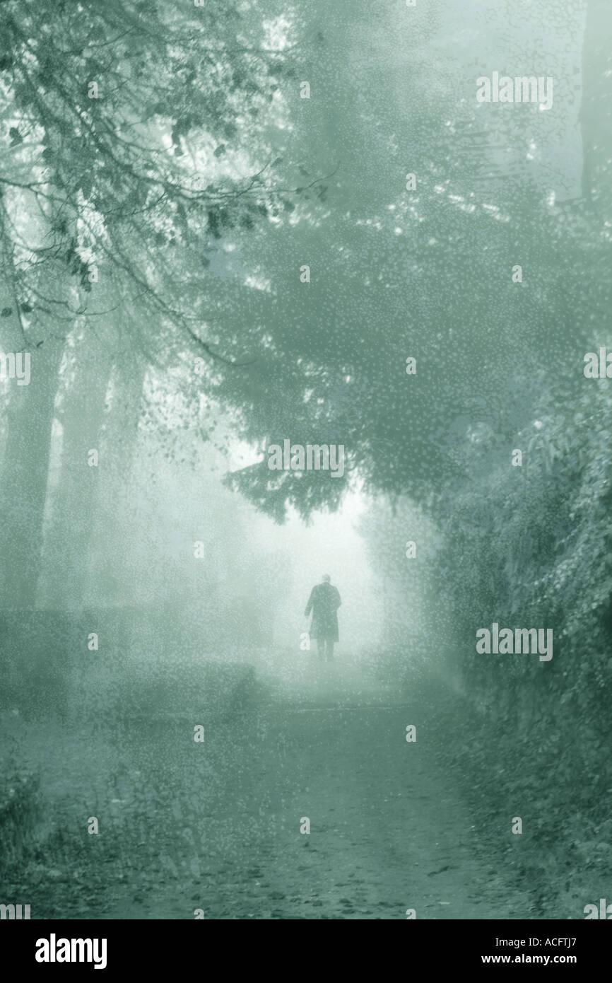 Foto von einem Mann zu Fuß auf einem Weg im Nebel Stockbild