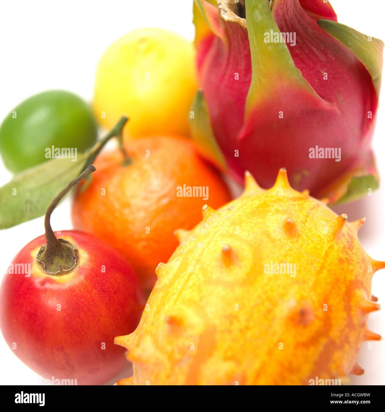 Exotische Fruchtmischungen Stockfoto