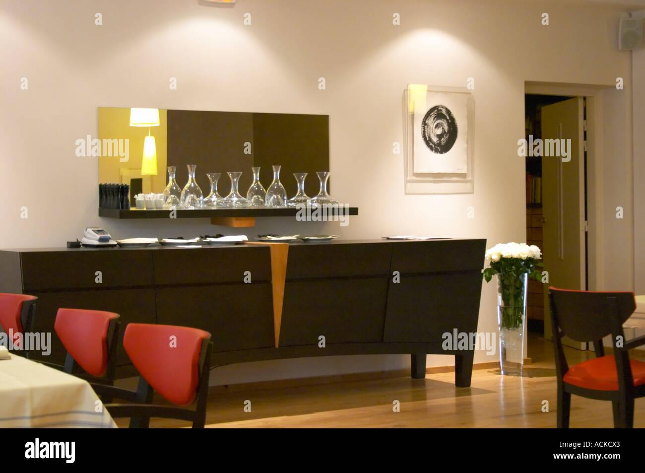 Ansicht des Speisesaals mit Tabellen., das Restaurant Blanc ...