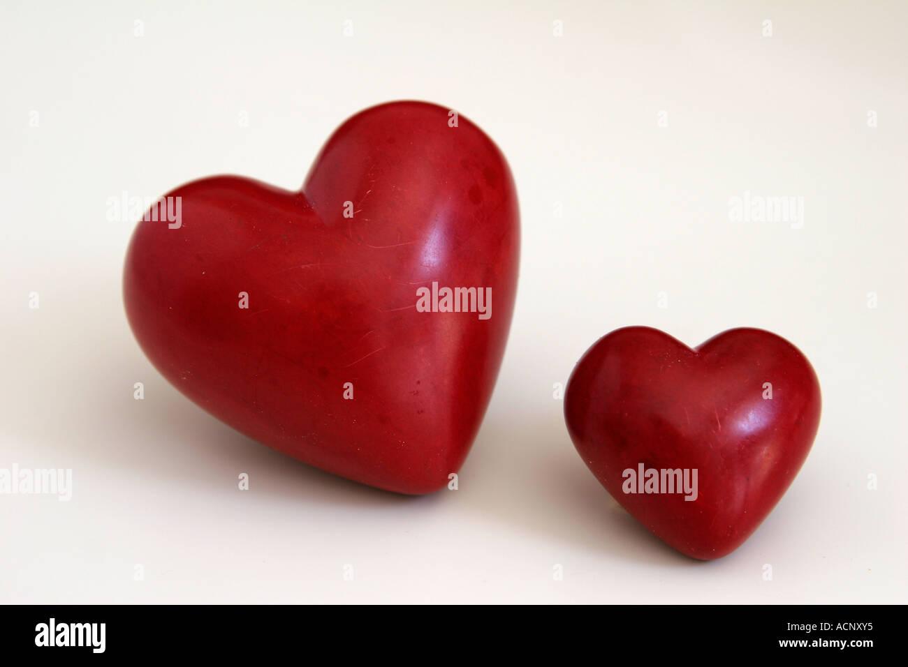 Rote Herzen - Zwei Herzen Stockbild