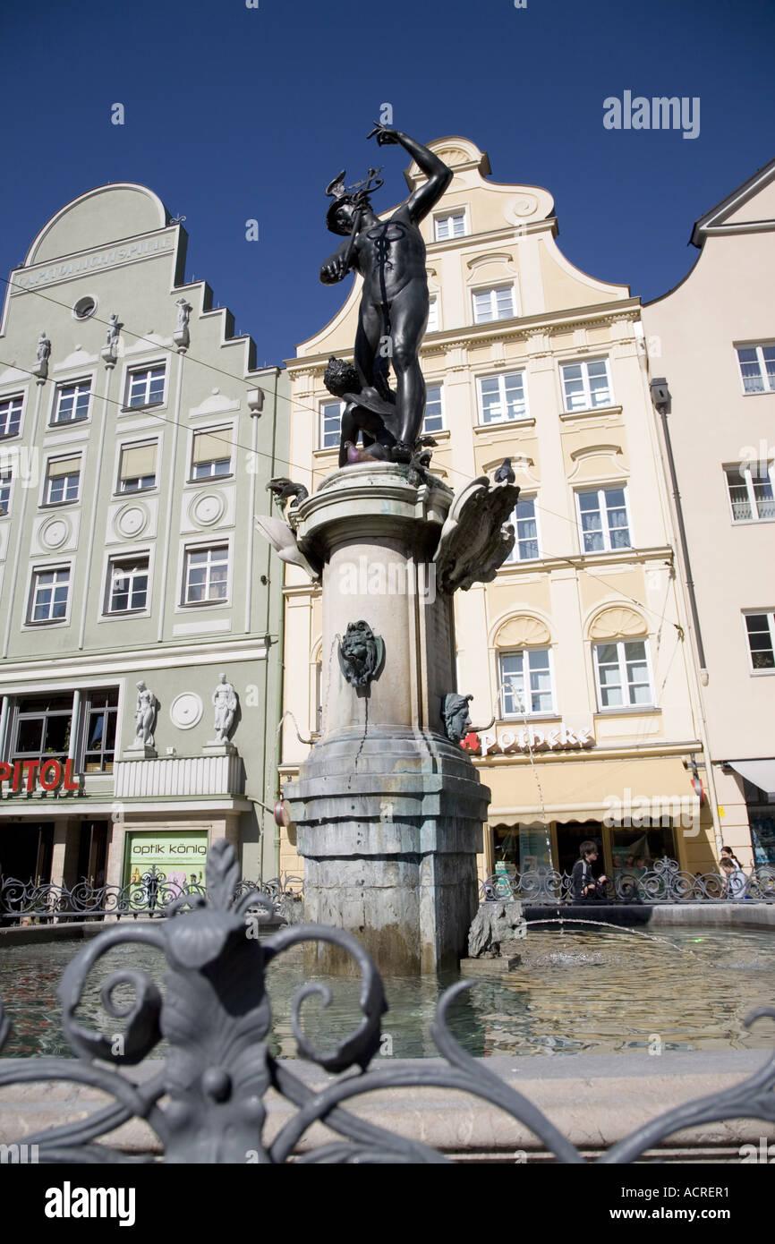 Brunnen, Rathausplatz, Augsburg, Bayern, Deutschland