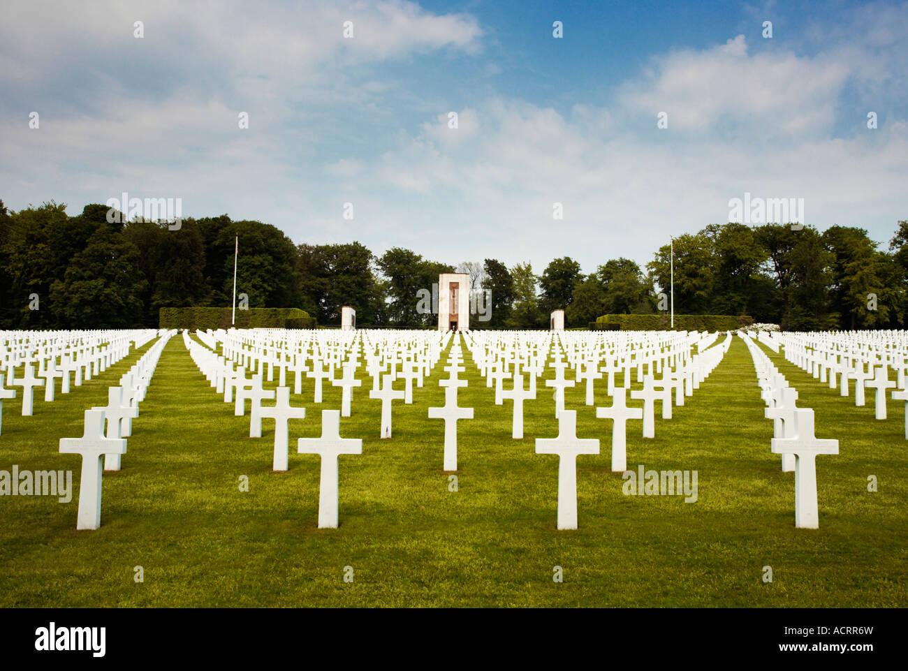 Kriegsgräber auf dem amerikanischen Soldatenfriedhof in Hamm, Luxemburg-Stadt, Europa Stockbild