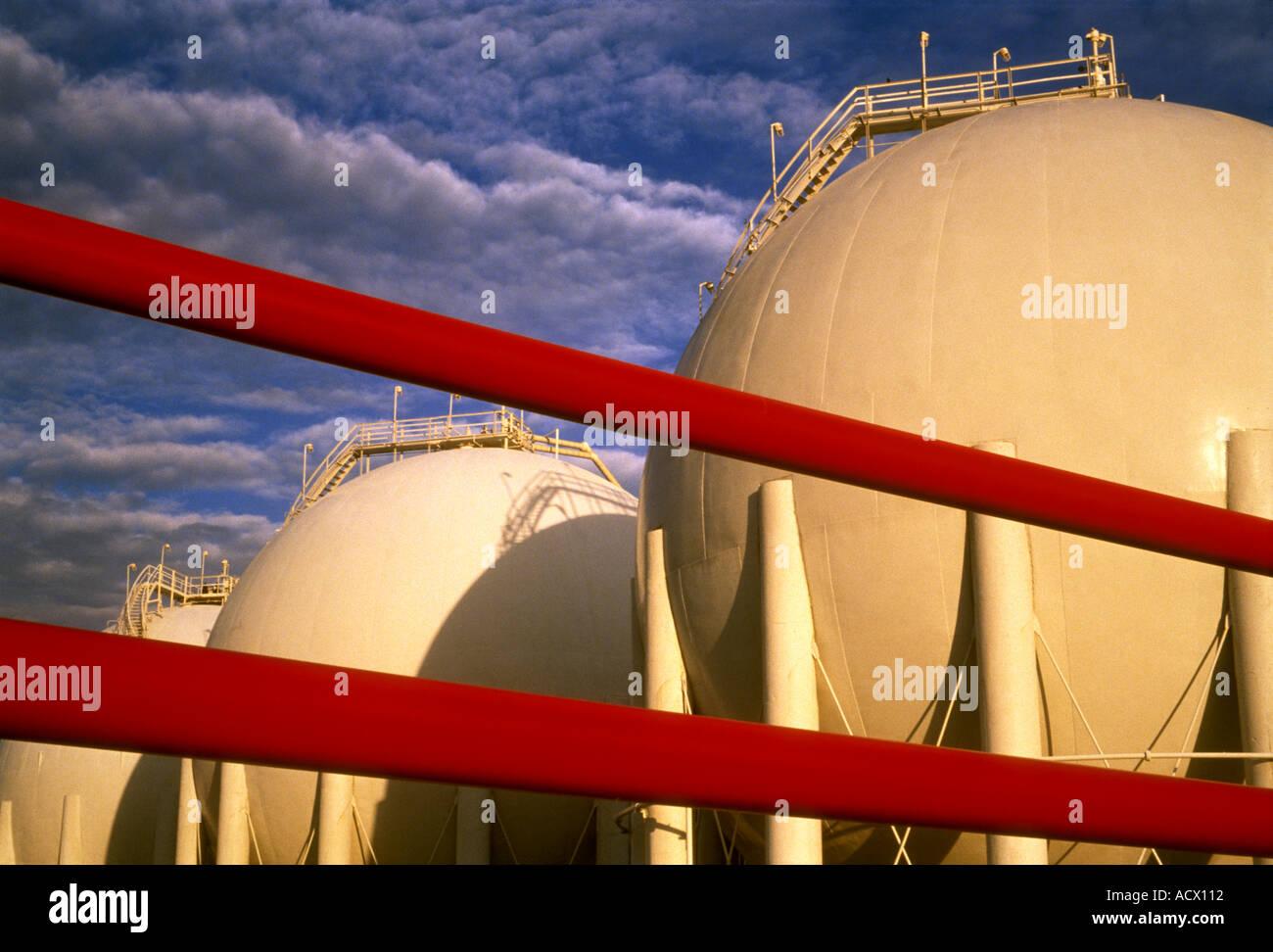 Erdgas-Lagertanks in Houston Texas Stockbild