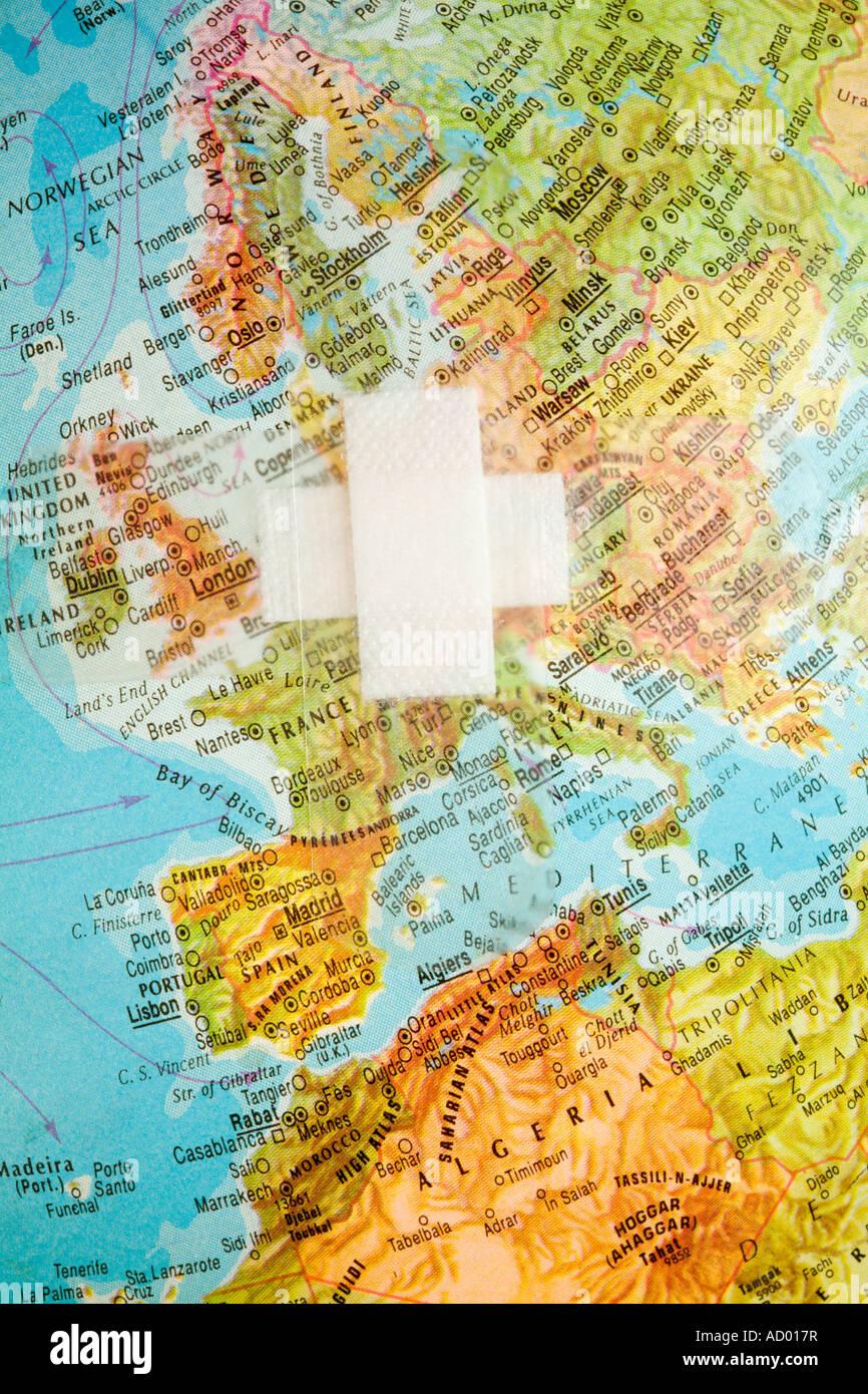 Deutschland Frankreich Karte.Karte Von Europa Mit Gips über Deutschland Frankreich Großbritannien