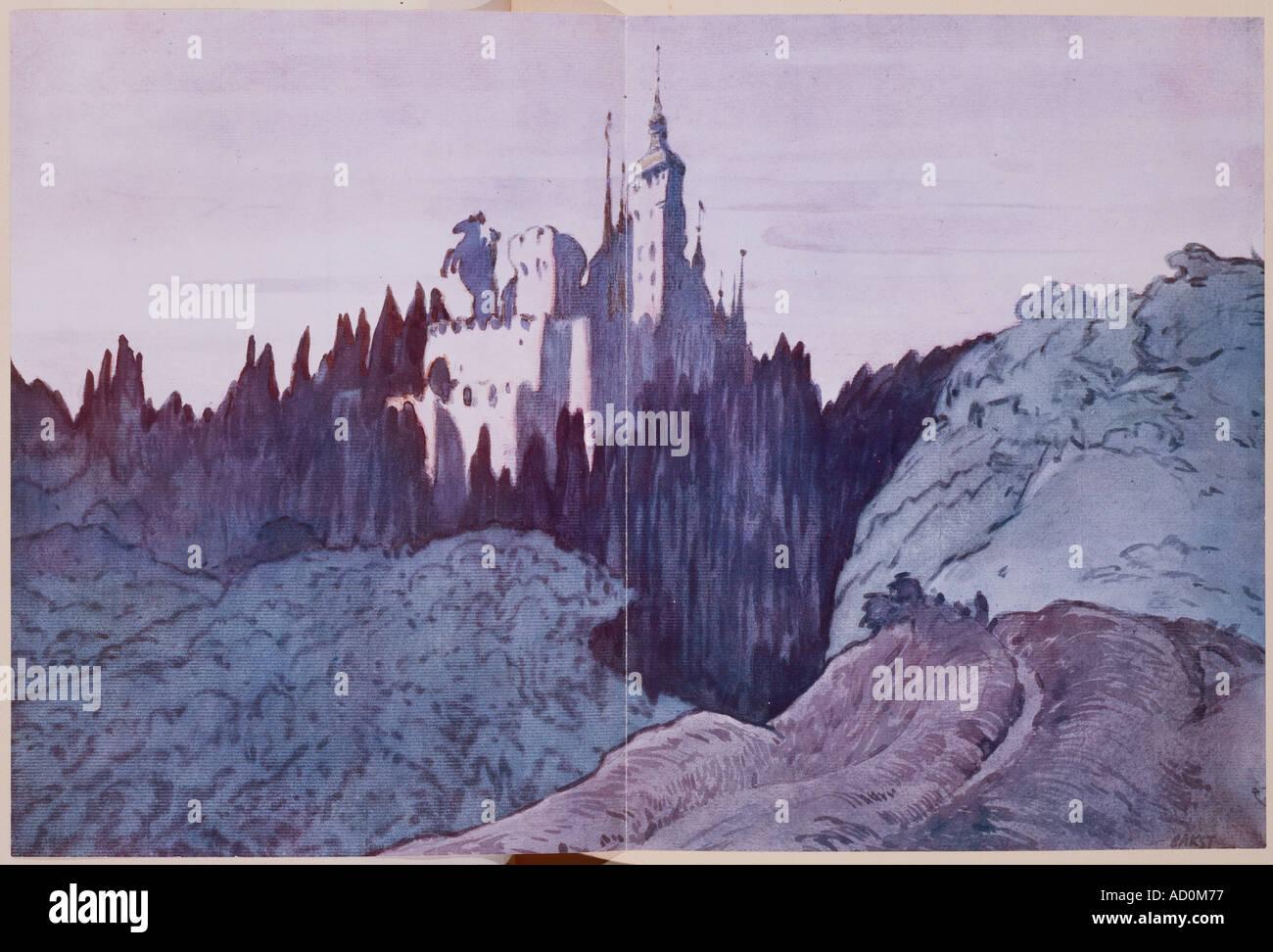 Landschaft-Design für The Sleeping Princess von Leon Bakst für Diaghilews Ballets Russes, c.1921 Stockbild