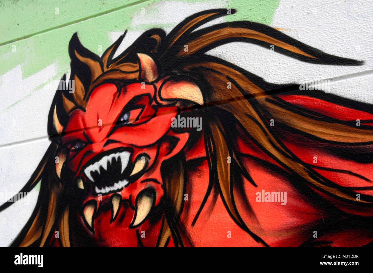 Graffiti rote Dämon Teufel Moster monströse Kunst künstlerisch Graf grafische Darstellung Kunstwerk Stockbild