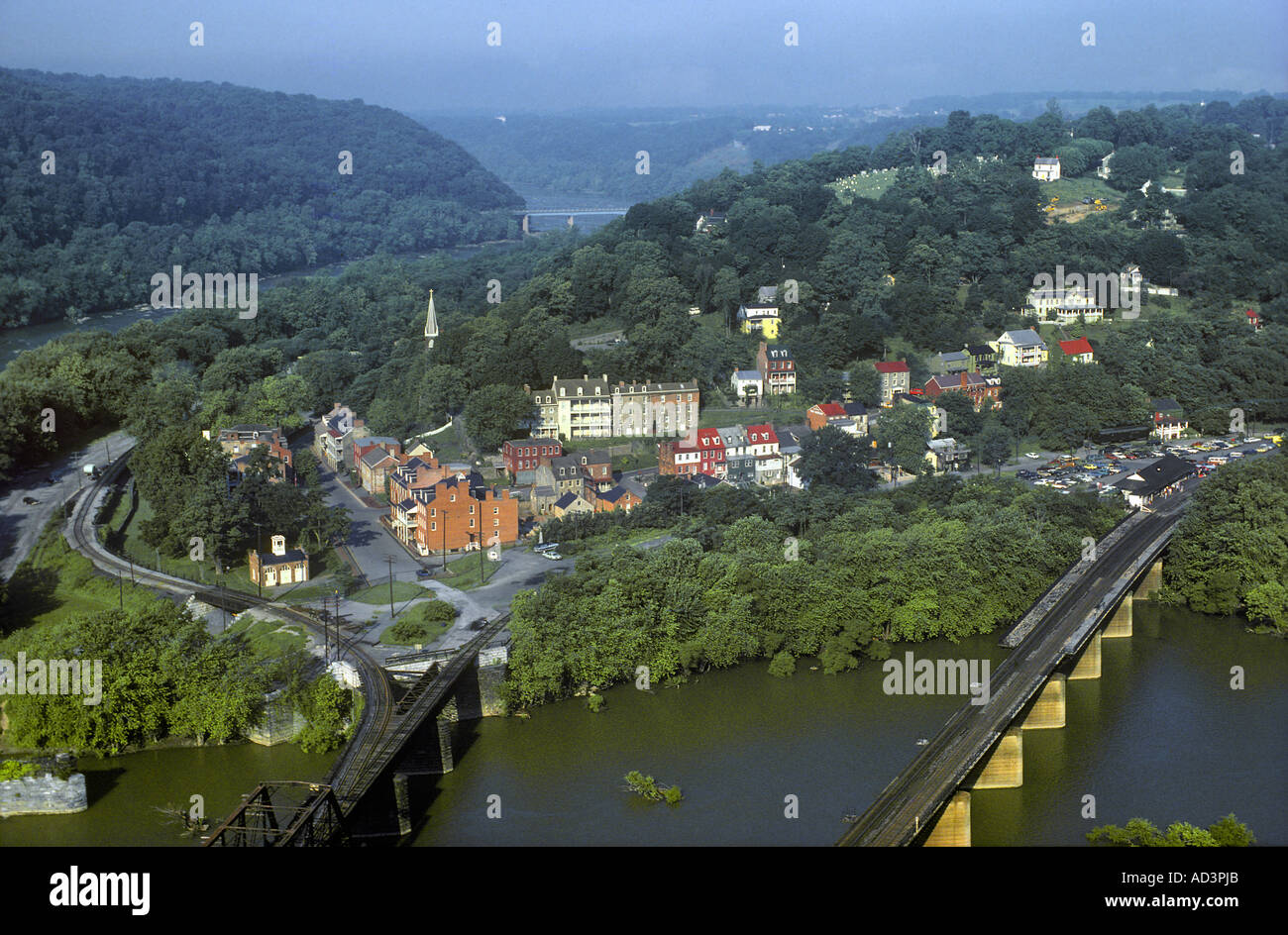 Harpers Ferry National Historical Park West Virginia Zusammenfluss des Shenandoah und des Potomac Rivers Stockbild