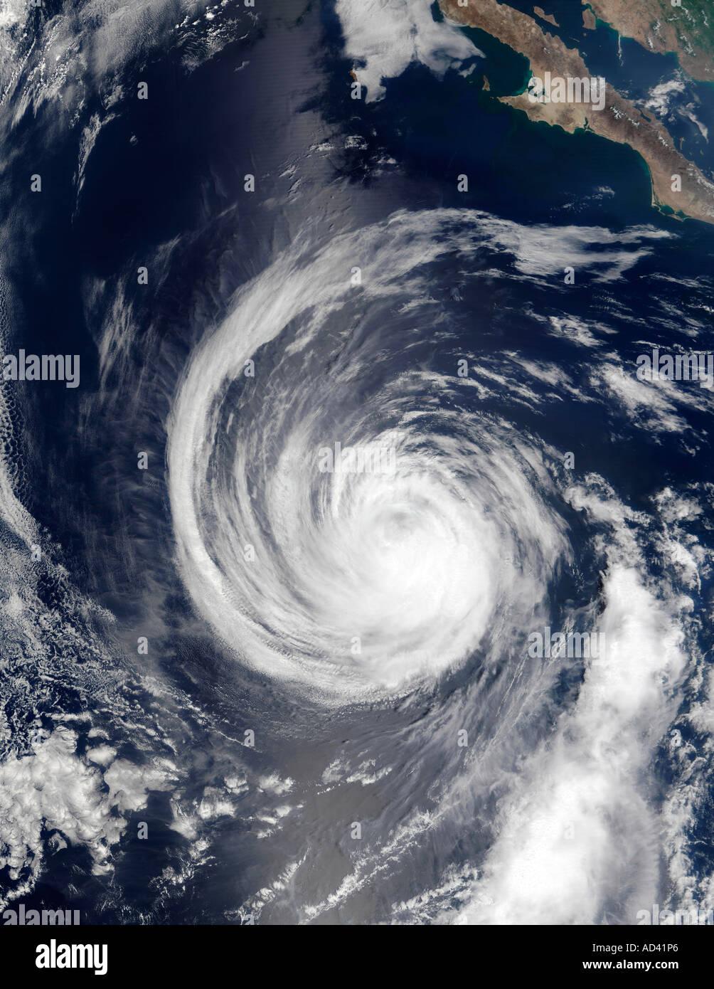 Hurrikan Hernan, Satellitenbild Stockbild