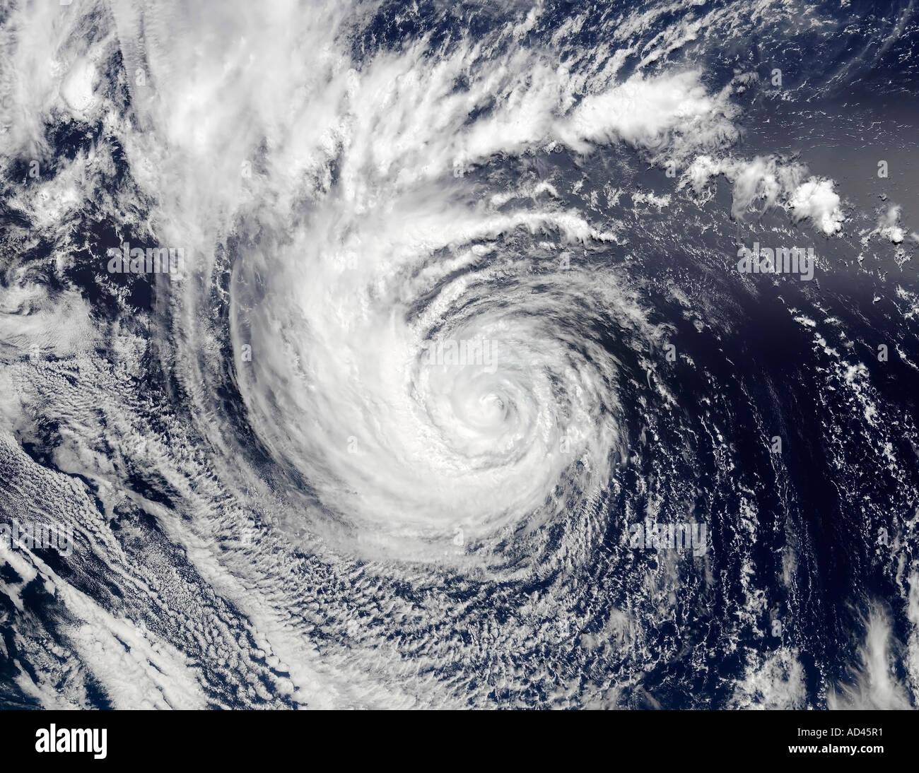 Hurrikan-Ele entnehmen bitte den zentralen Pazifik in diesem True-Color-Bild, aufgenommen am 4. September 2002 Stockbild