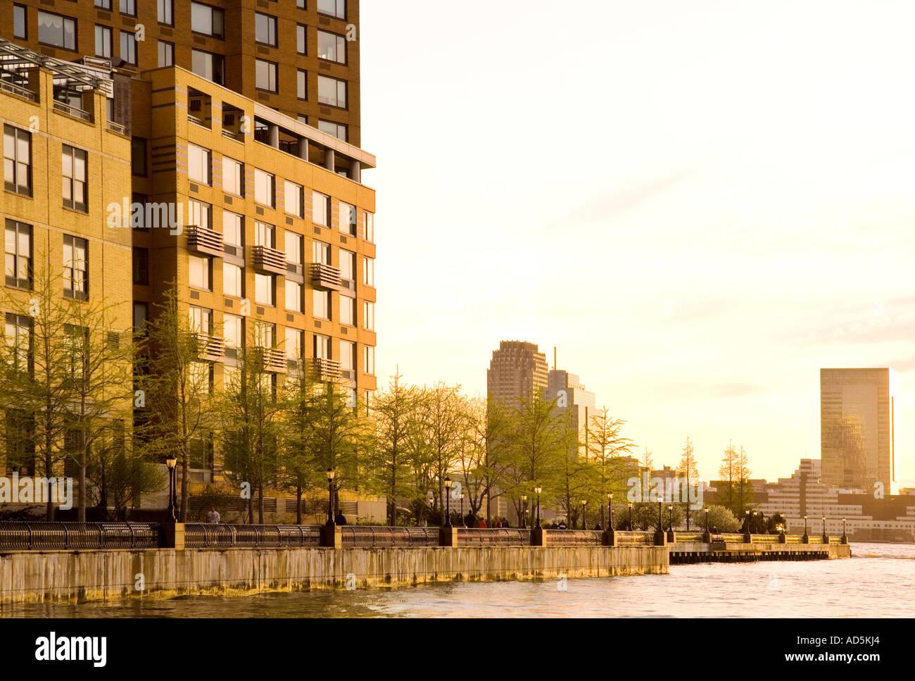 Tribeca Battery Park Eigentumswohnung Wohnungen am Ufer des Hudson River Manhattan New York Stockbild
