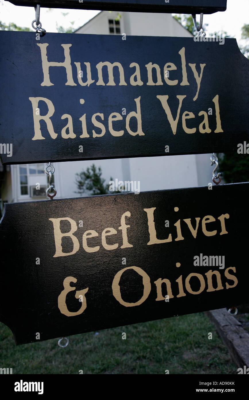 Virginia Upperville Hunter's Kopf Taverne business Restaurant Zeichen menschlich angehoben Kalbfleisch Rindfleisch Stockbild