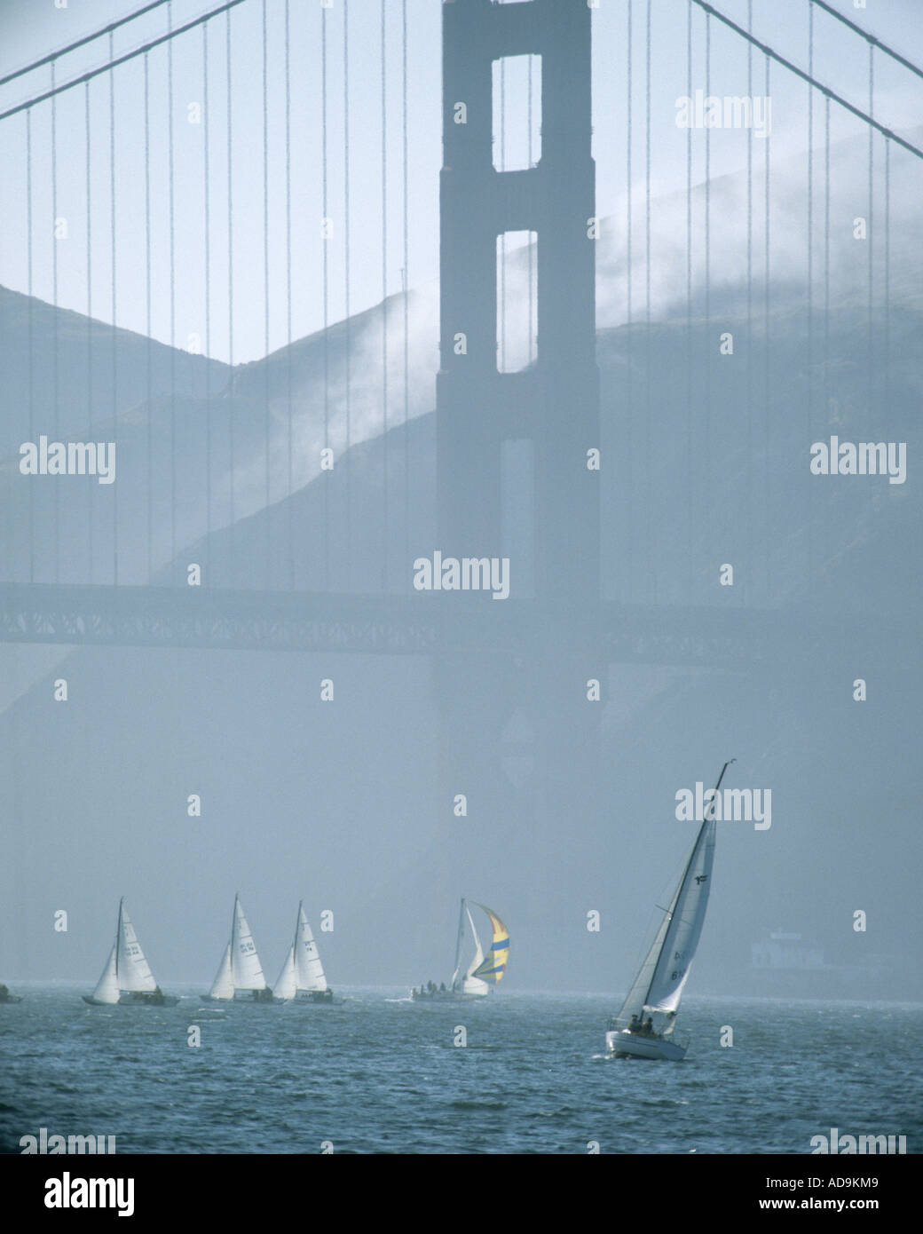 USA - Kalifornien: Segeln unter der Golden Gate Bridge in San Francisco Stockbild
