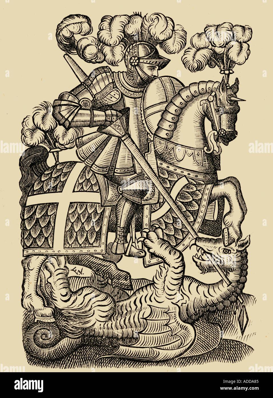 Das Rote Kreuz Ritter. Von der ersten Ausgabe der Fairy Queene 1590 Stockbild