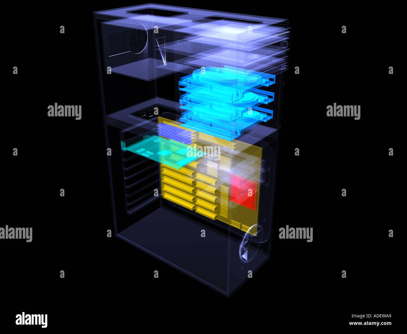 computer teile 3d illustration im xray stil der teile. Black Bedroom Furniture Sets. Home Design Ideas