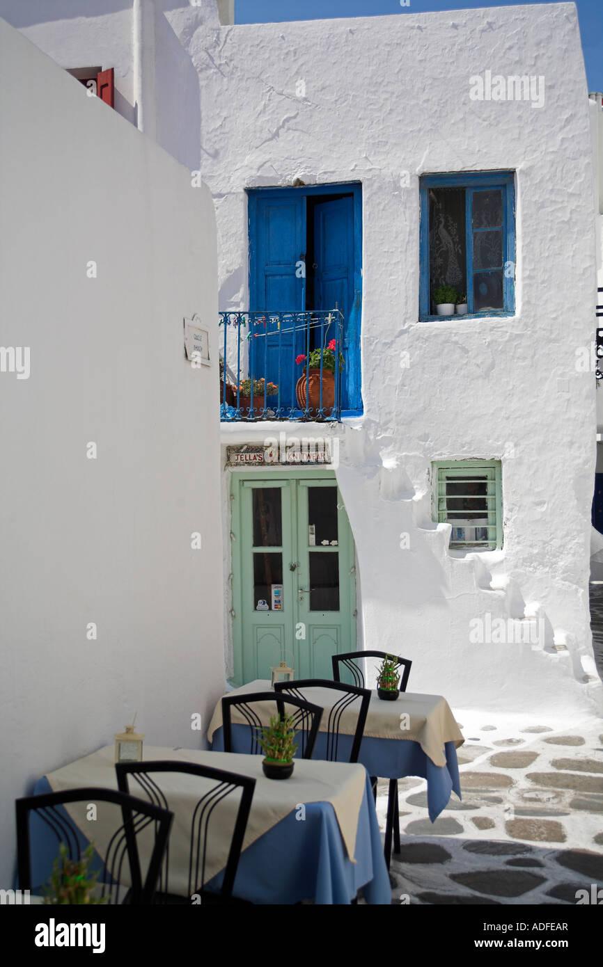 Taverna Mykonos Cyclades Griechenland Stockfoto