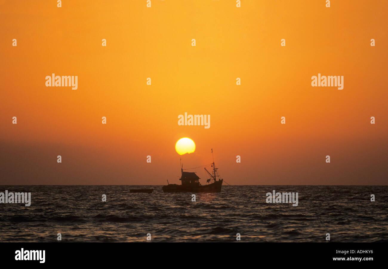 Sunset Colva Beach Goa Indien Stockfoto