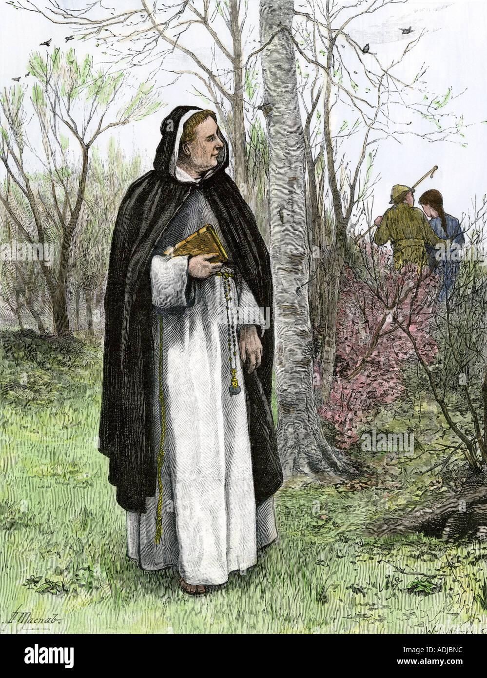 Saint Valentine sehen ein junges Paar die Herkunft der Valentines Tag. Hand - farbige Holzschnitt Stockbild