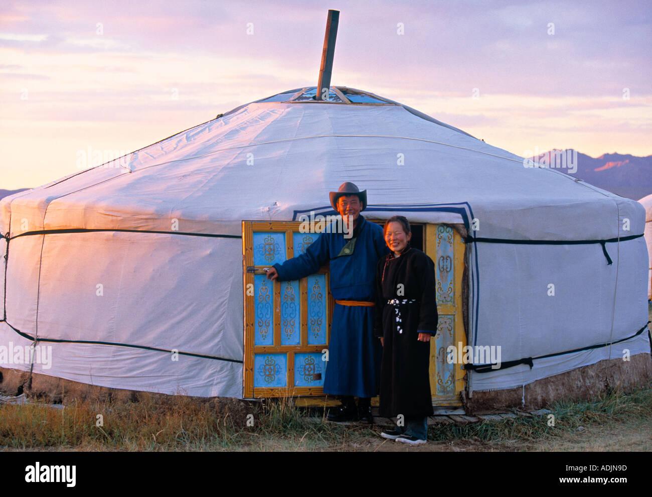 Mongolische Jurten Wohnungen Mongolei Stockbild