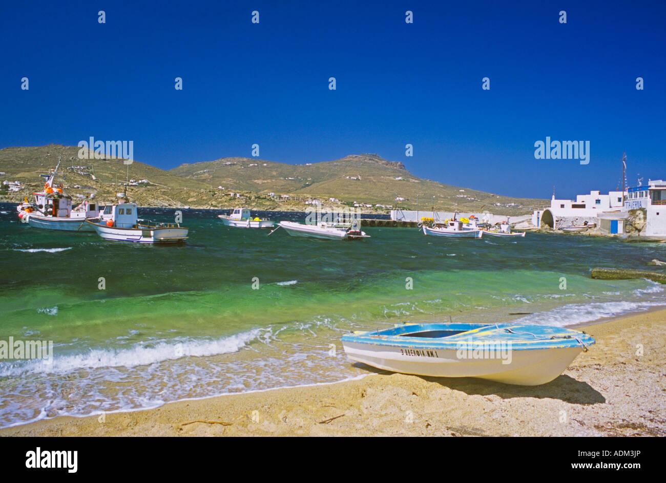 Agia Anna griechische Mykonos Griechenland Stockfoto