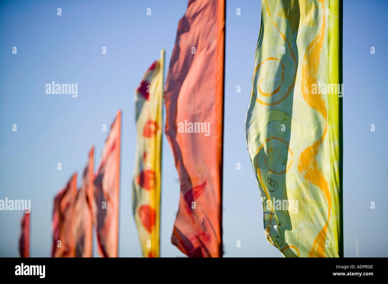 Fahnen an der Appledore Festival, North Devon, UK Stockbild