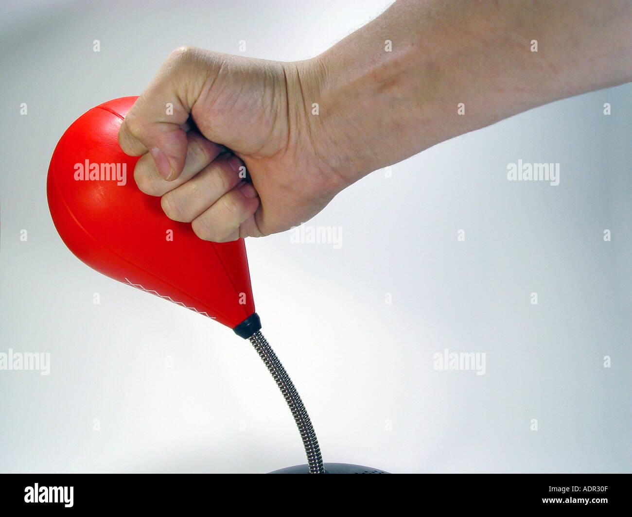 Punching Ball als Symbol für Aggression Demontage Kraft Mobbing etc. Stockfoto