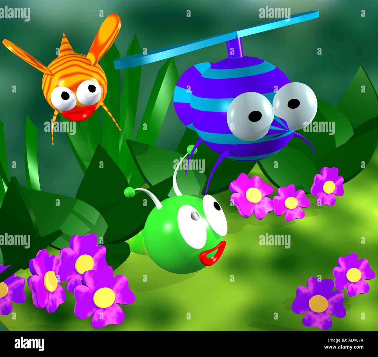 Illustrationen Computer Grafik cg Zeichen Insekt Insekten stilisierte Biene Moskito Blume Blumen Cartoon infantile kindisch char Stockbild