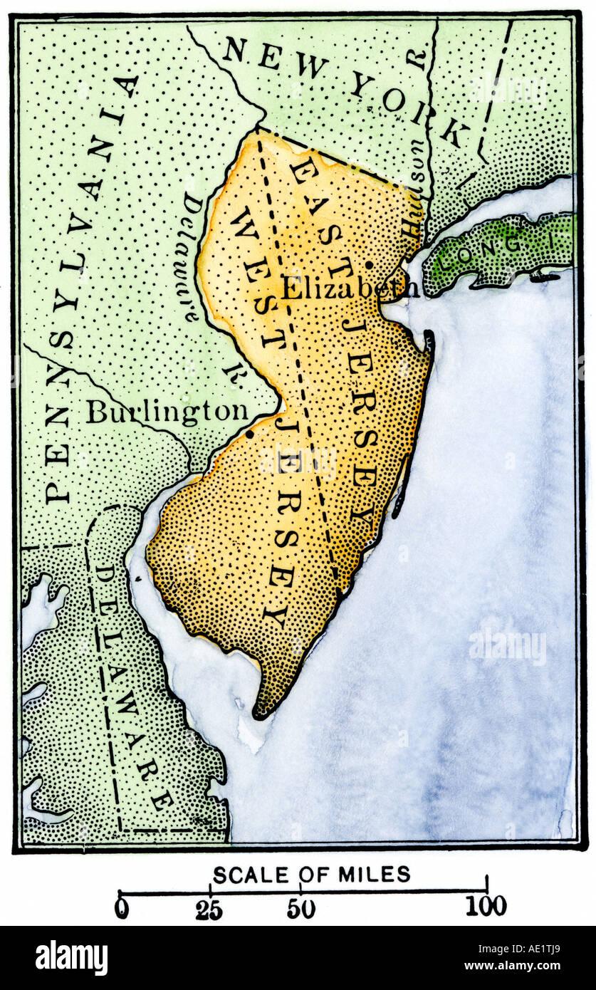 Karte von kolonialen Ost und West Jersey. Hand - farbige Holzschnitt Stockbild
