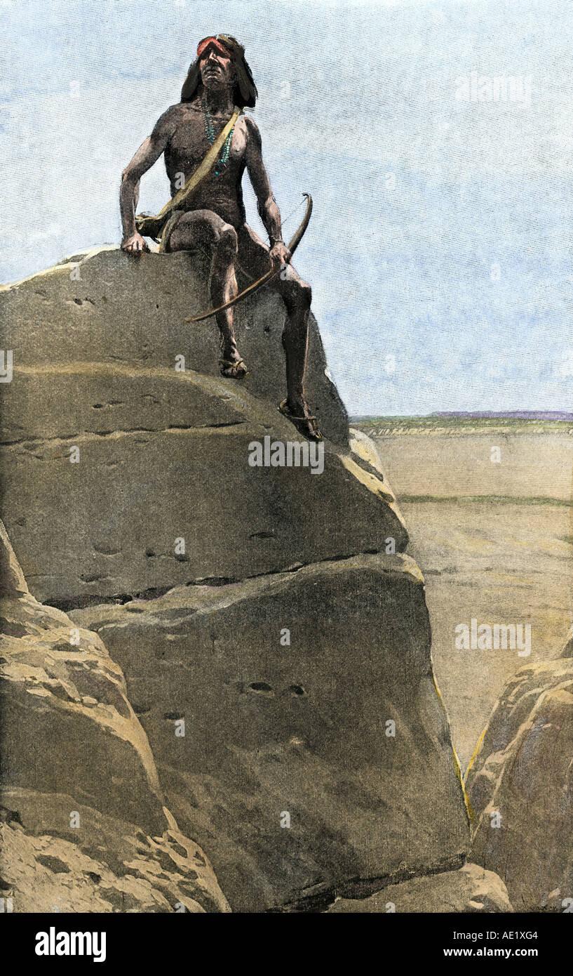 Alte Puebloan oder Anasazi Krieger von Katzimo in der Nähe von Acoma Pueblo, in denen einem einzelnen Mann eine Armee abwehren kann. Handcolorierte halftone einer Abbildung Stockbild