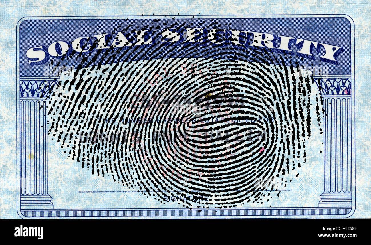 Vereinigten Staaten Sozialversicherungsausweis mit Finger print abstrakt Stockfoto