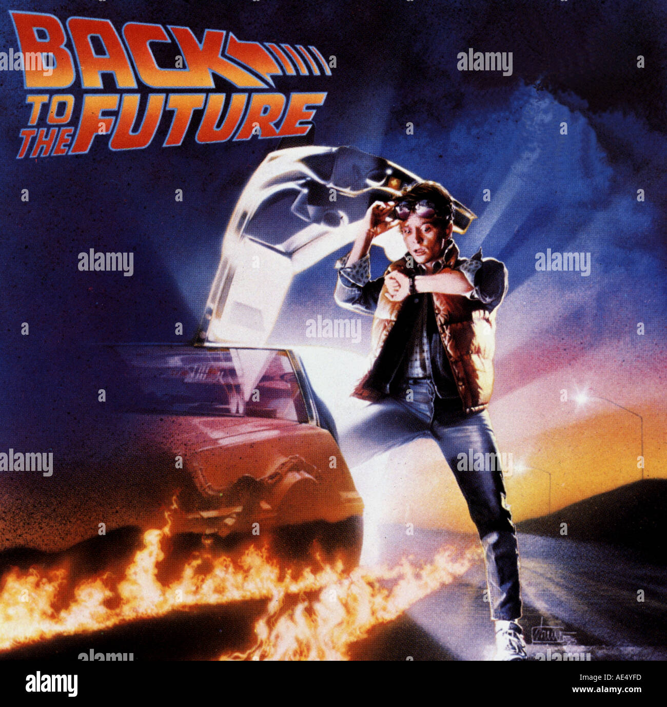 BACK TO THE FUTURE-Plakat von dem 1985 Film mit Michael J Fox Stockbild