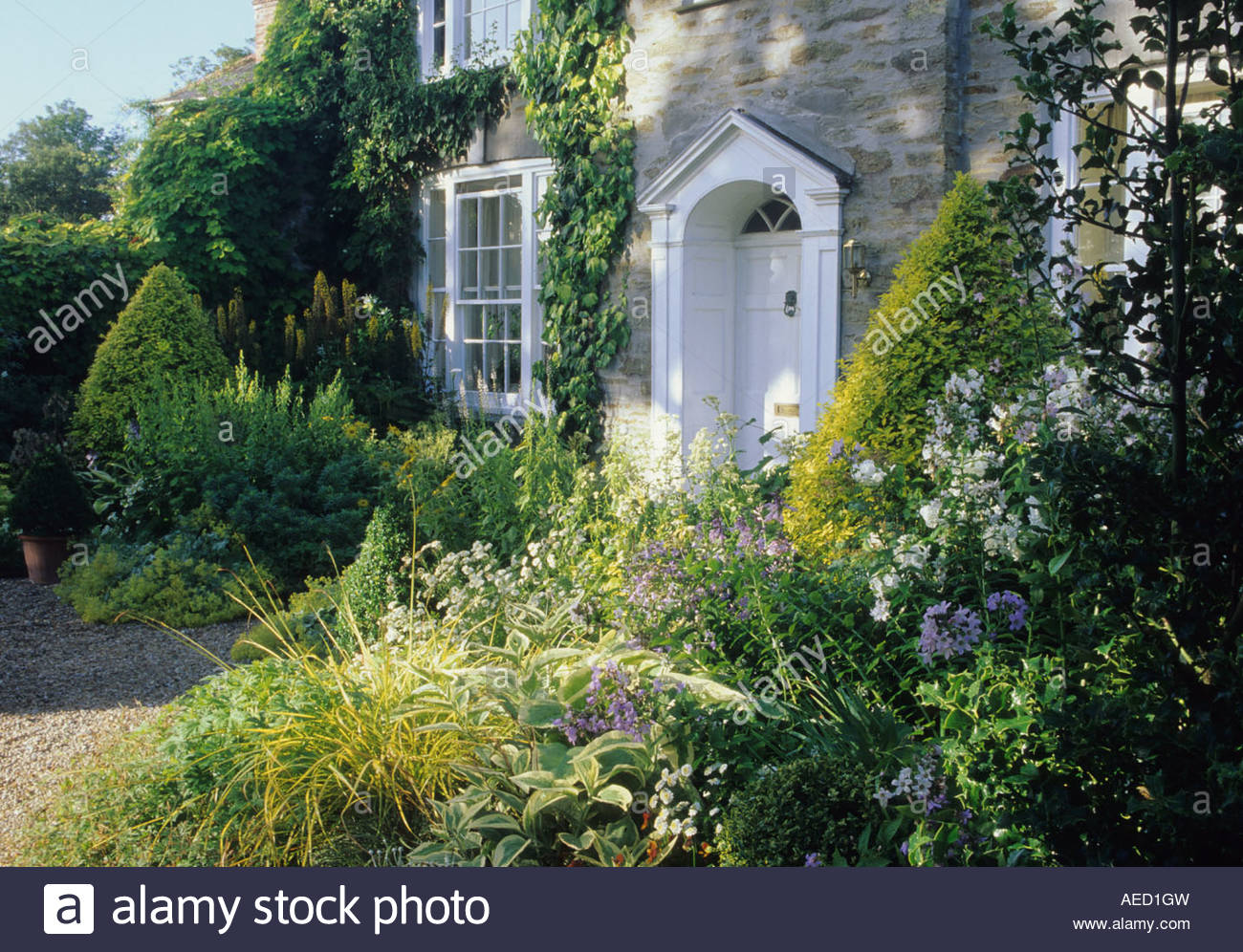 Bosvigo Haus Cornwall Vean vorne Garten gelben und weißen und blauen ...