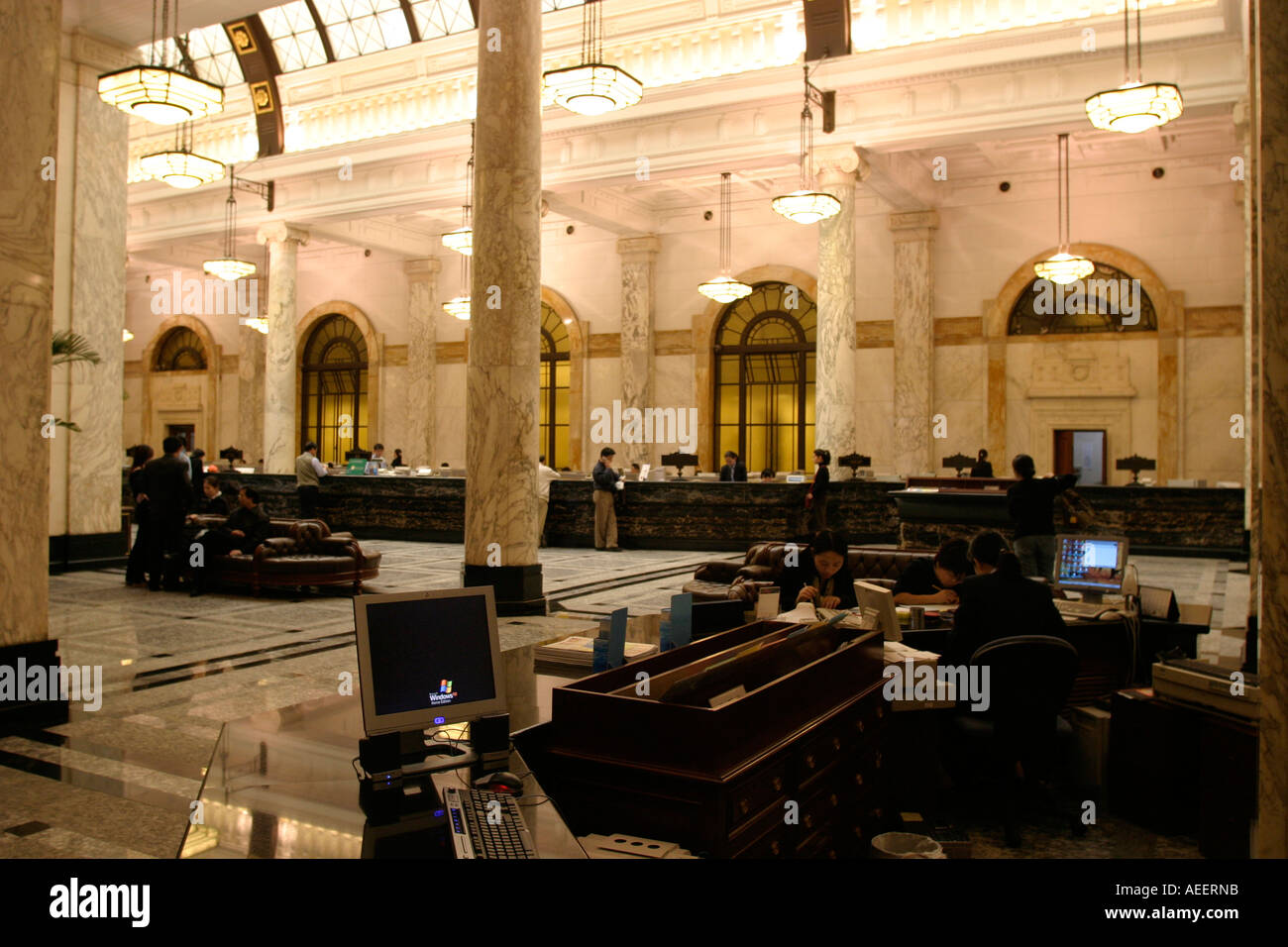 Shanghai China Interieur der alten Hong Kong und Shanghai Bank auf ...