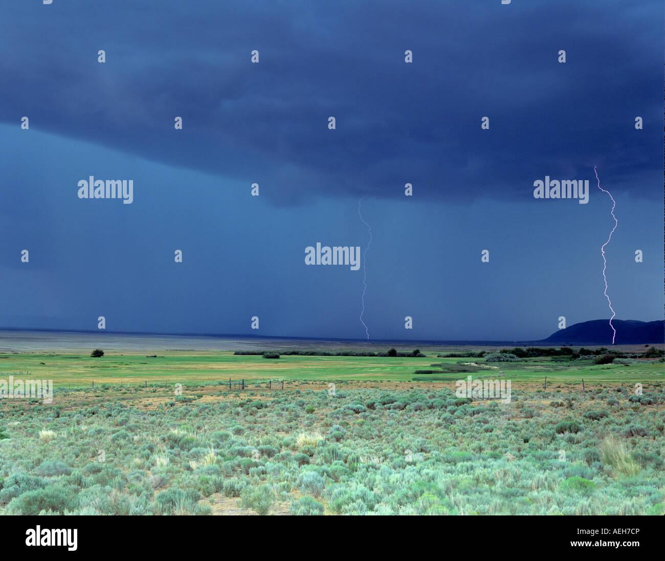 Blitzeinschlägen über Ackerland in der Nähe von Paisley Oregon Stockbild