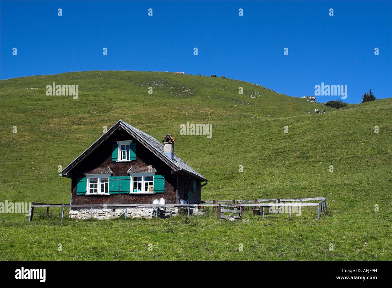 Hütte im Alpsteingebirge, Kanton Appenzell, Schweiz Stockbild