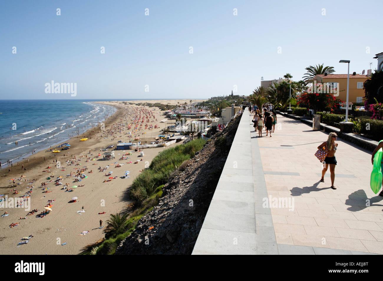 Promenade, Playa del Ingles, Costa Canaria, Gran Canaria, Spanien Stockbild