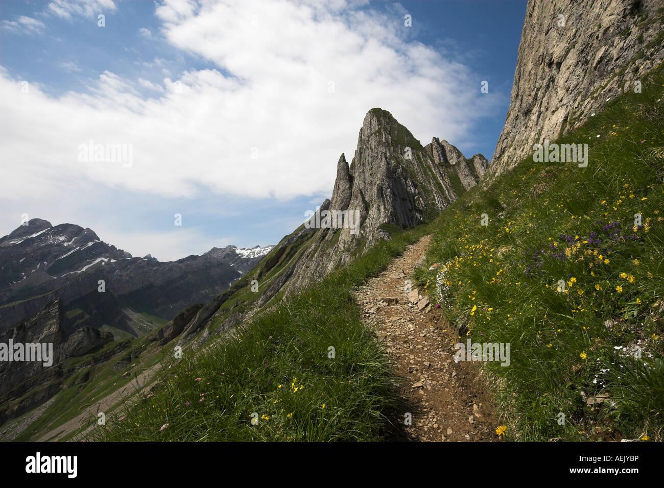 Berg-Weg im Alpsteingebirge Kanton Appenzell, Schweiz Stockbild