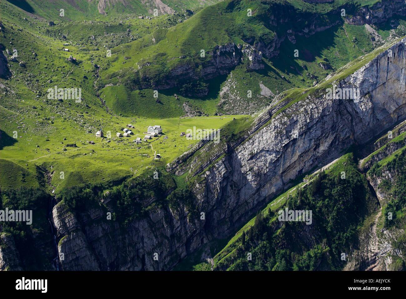 Die Meglisalp im Alpsteingebirge Kanton Appenzell, Schweiz Stockbild