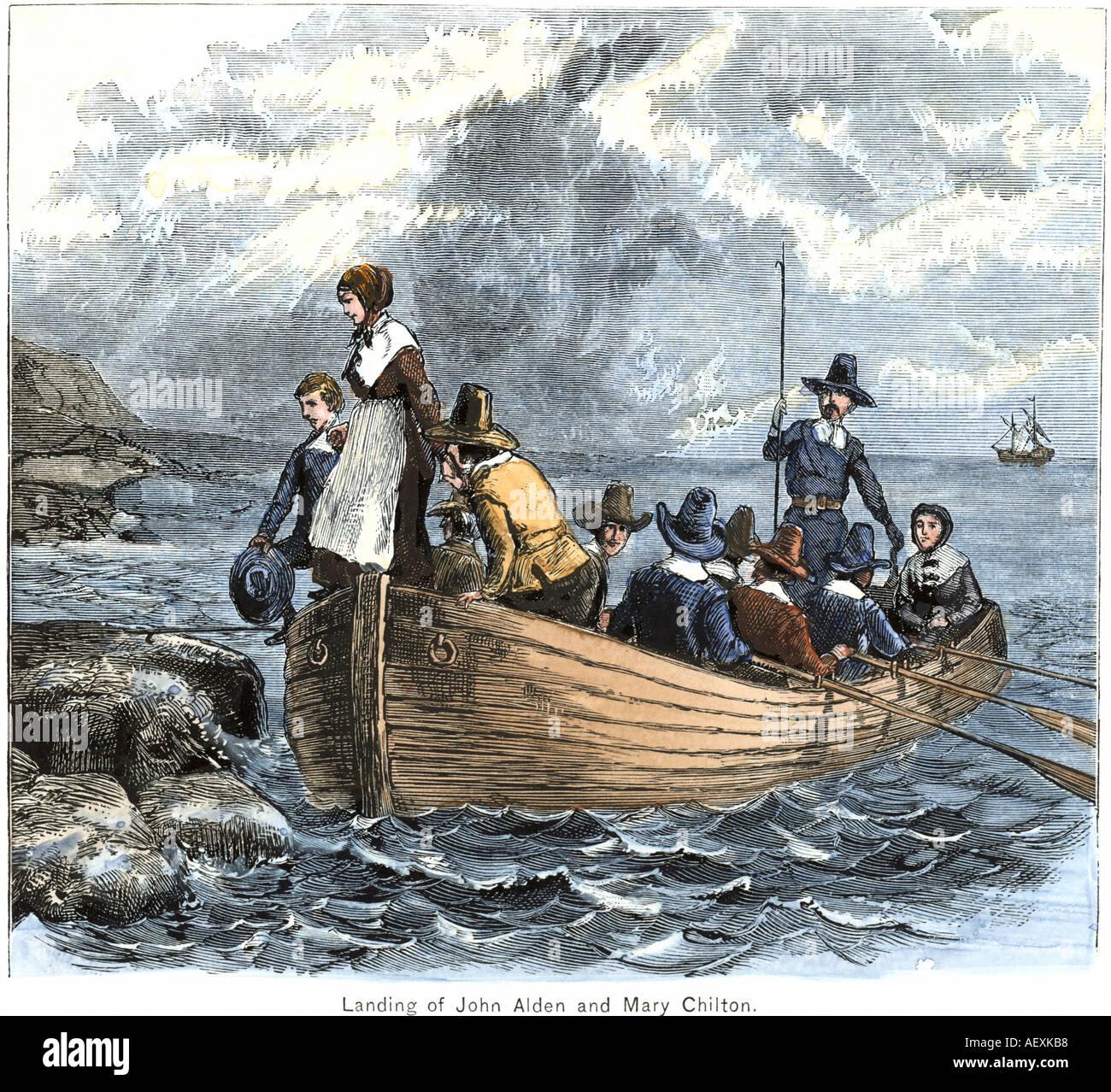 Pilger John Alden und Maria Chilton Landung am Plymouth vom Schiff Mayflower 1620. Hand - farbige Holzschnitt Stockbild