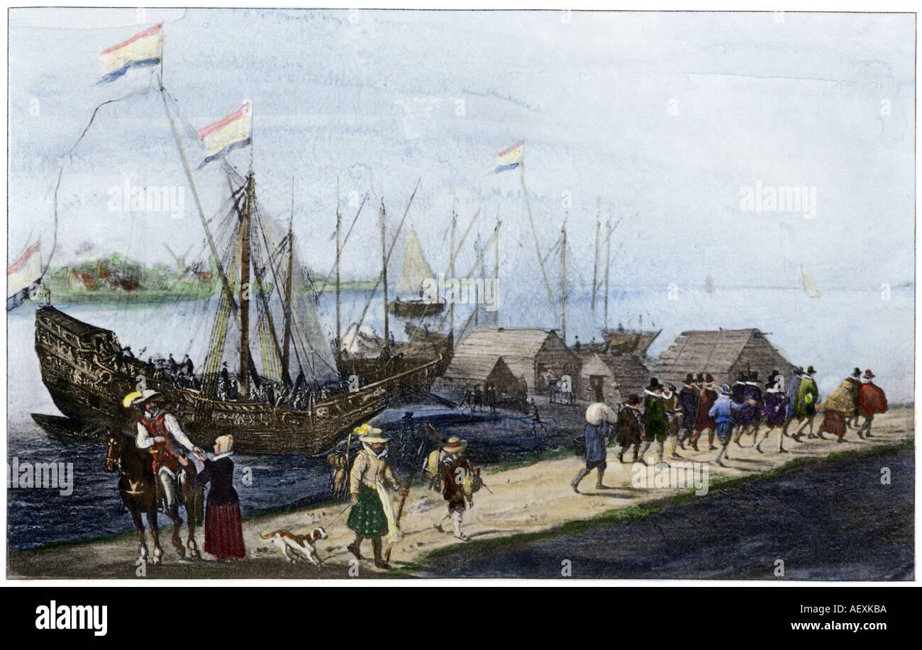 Pilger auf dem Ehrenpreis von Delfshaven Niederlande fahren die Mayflower Reise zu verbinden. Handcolorierte photogravure Stockfoto