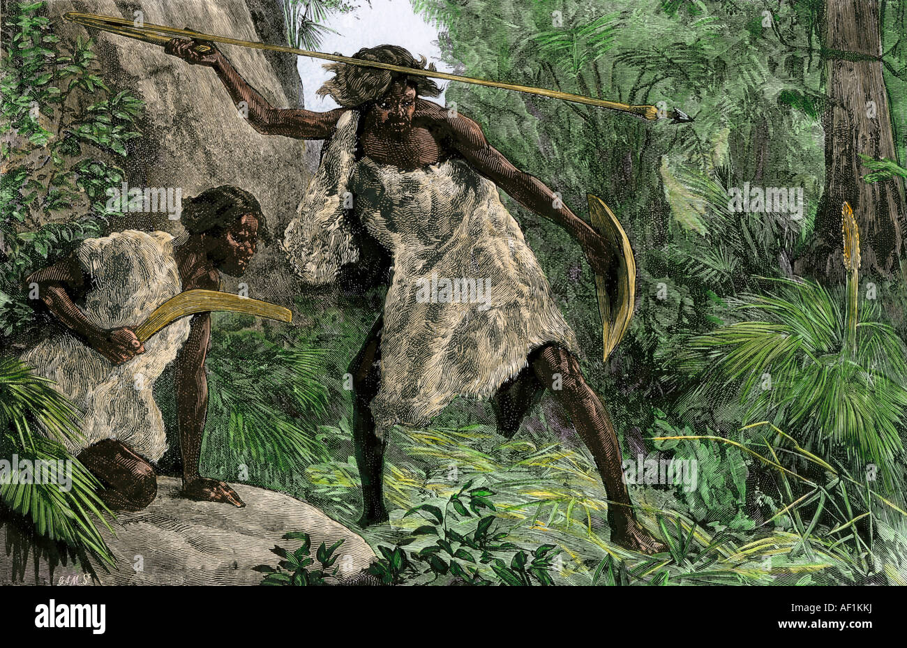 Die Aborigines die Jagd mit einem atlatl Boomerang in einer australischen Wald 1800. Hand - farbige Holzschnitt Stockbild